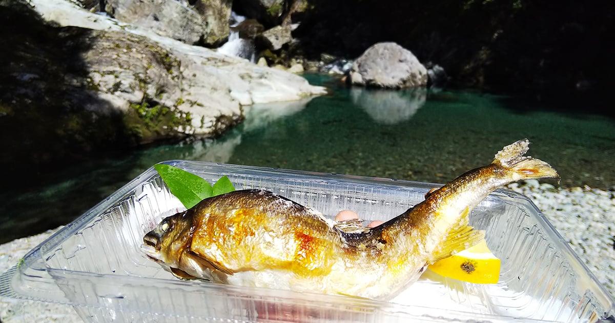 仁淀川と鮎の塩焼き